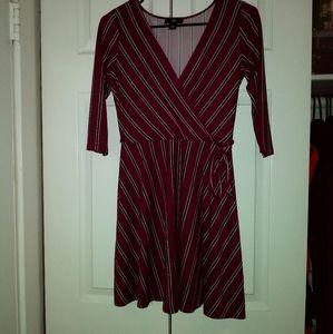 Wrap style Stripe maroon dress size Small